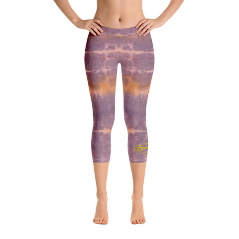 Purple Sunset Tie Dye Capri Leggings