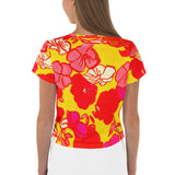 All-Over Sixties Floral Print Crop Tee