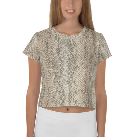 All-Over Authentic Snake Skin Print Crop Tee
