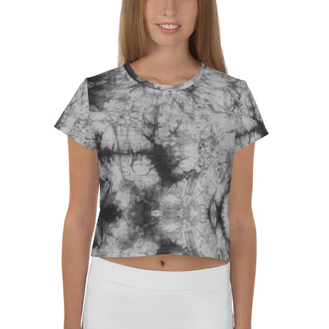 All-Over Grey Tie Dye Print Crop Tee
