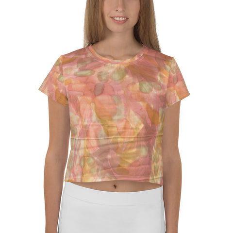 All-Over Watercolor Smudge Print Crop Tee