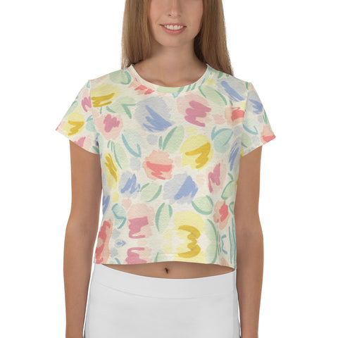 All-Over Blurred Tulip Print Crop Tee