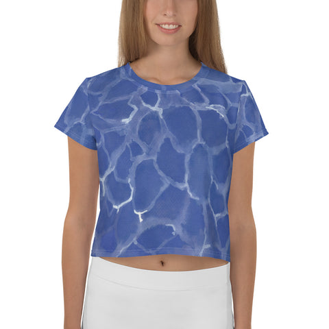 All-Over Blue Pool Print Crop Tee