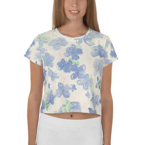 All-Over Blu&White Watercolor Floral Print Crop Tee