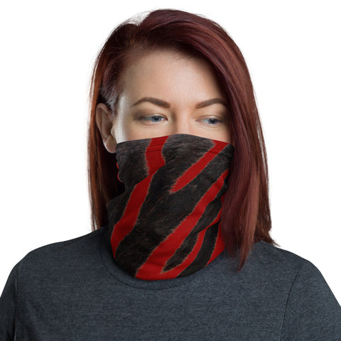 Face Mask MockTurtleneck Red Zebra