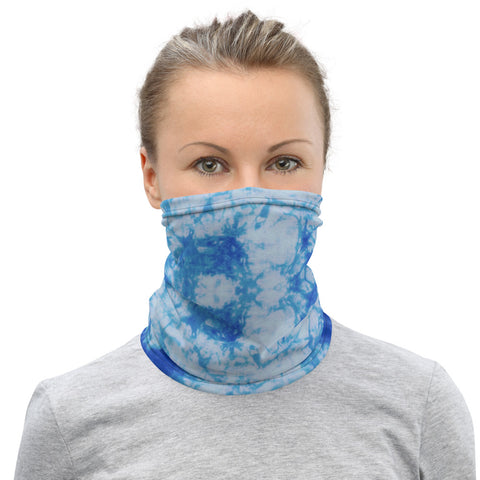 Face Mask MockTurtleneck Blue Tie Dye