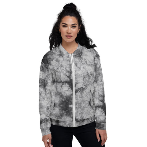 Unisex Bomber Jacket - Grey Tie Dye - Women