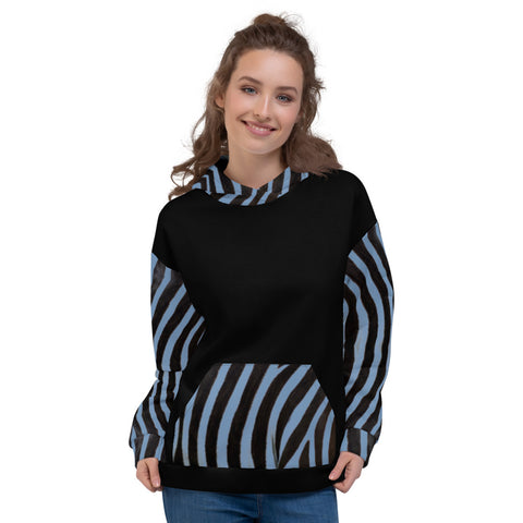 Unisex Hoodie - Engineered Blue Zebra - Women