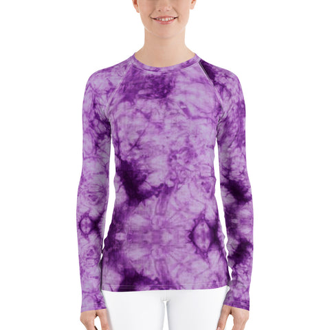 Purple Tie Dye Long Sleeve Tops