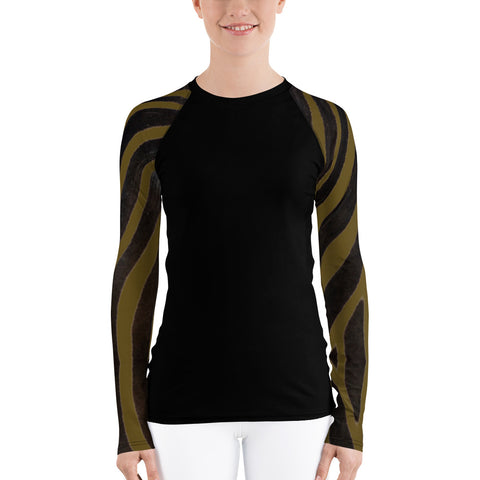 Olive Zebra Long Sleeve Tops