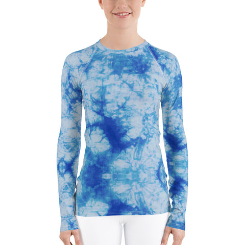 Blue Tie Dye Long Sleeve Tops