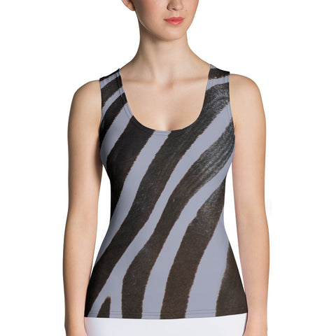 Grey Zebra Tank Top