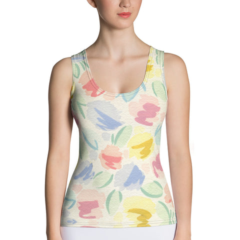 Blurred Tulip Sublimation Cut & Sew Tank Top