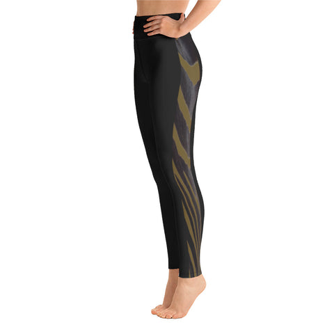 Olive Side Zebra Yoga Leggings