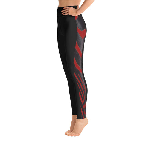 Red Side Zebra Yoga Leggings