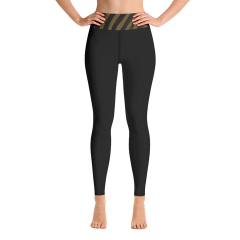 Olive Zebra Trim Yoga Leggings