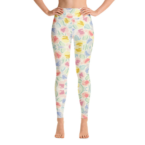 Blurred Tulip Yoga Leggings