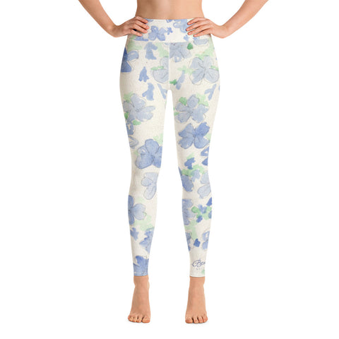 Blu&White Watercolor Floral Yoga Leggings