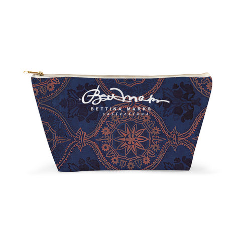 Sargasso Blue and Mellow Rose (coloured) Damask Accessory Pouch T-Bottom