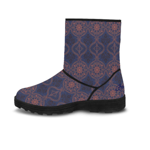 Sargasso Faux Fur Blue and Mellow Rose Morrocan Damask Boots