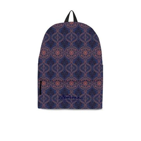 Sargasso Blue and Mellow Rose Damask Back Pack