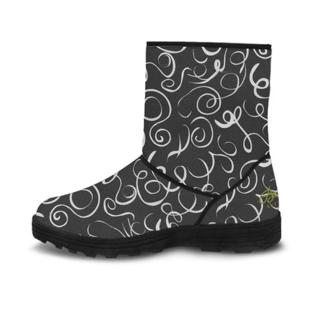 Faux Fur B&W Squiggles Boots