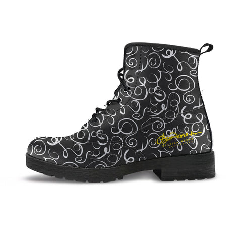 B&W Squiggles Leather Boots (Vegan)