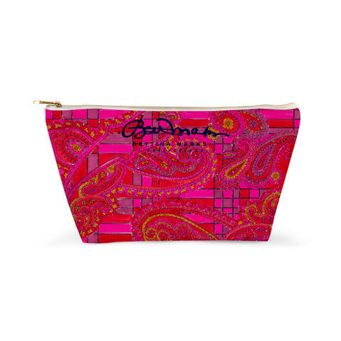 Bright Fuscia and Red Poppy Paisley Accessory Pouch T-Bottom