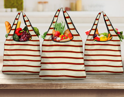 Red White Stripe Grocery Bag