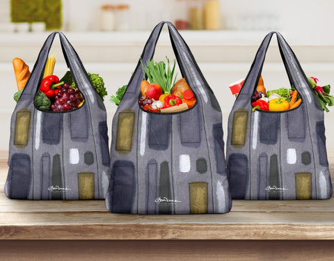 Menswear Denim Stripe Grocery Bag
