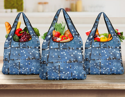 Blu&White Dotted Plaid Grocery Bag