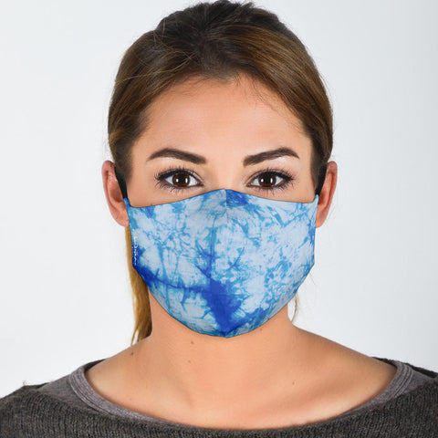 Premium Face Mask Blue Tie Dye