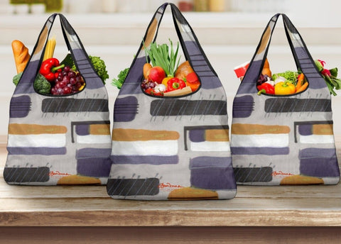 Menswear Denim Upholstery Stripe Grocery Bag