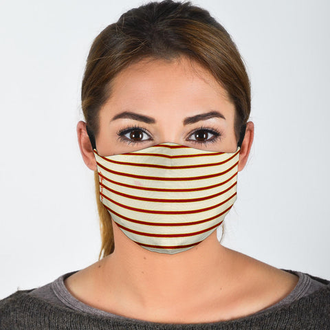 Premium Face Mask Red White Stripe