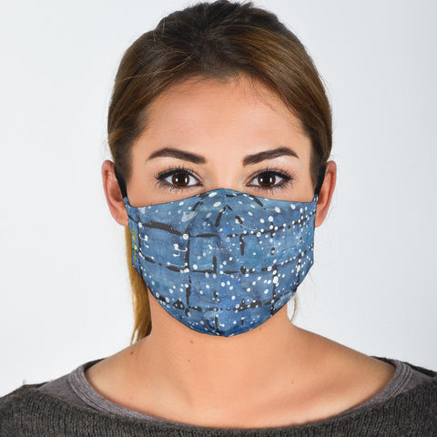 Premium Face Mask Blu&White Dotted Plaid