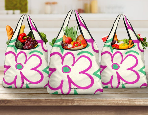 Linear Sixties Floral Grocery Bag
