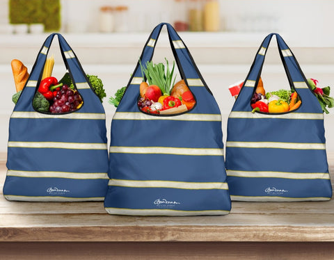 Blue Yellow White Stripe Grocery Bag