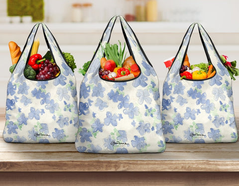 Blue&White Watercolor Floral Grocery Bag