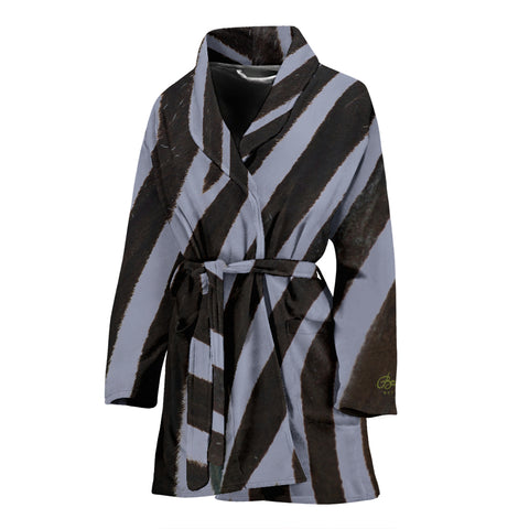 Grey Zebra Bath Robe - Women