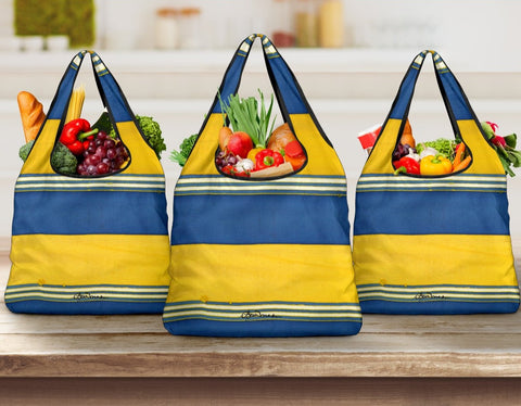 Blue Yellow White Beach ChairStripe Grocery Bag