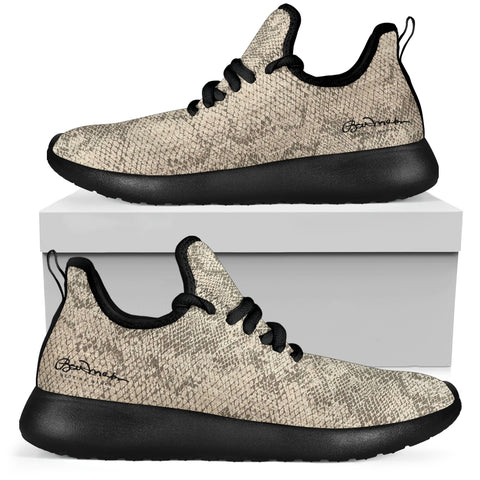 Authentic Snake Skin Print Mesh Knit Sneakers