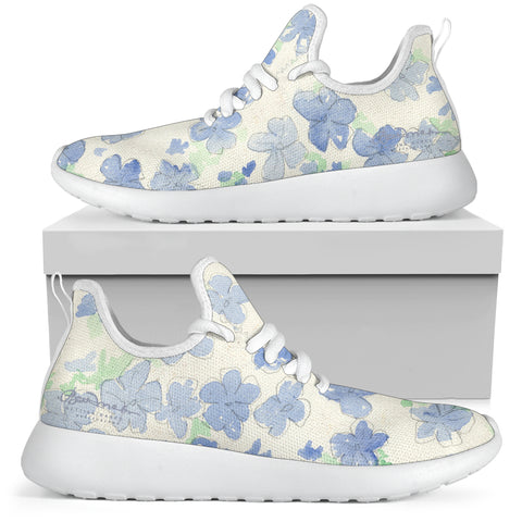 Blu&White Watercolor Floral Mesh Knit Sneakers
