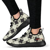 B&W Checkerboard Optical Mesh Knit Sneakers
