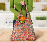 Orange Sixties Paisley Grocery Bag