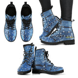 Blu&White Dotted Plaid Leather Boots (Vegan)