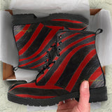 Red Zebra Leather Boots (Vegan)