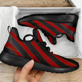 Red Zebra Mesh Knit Sneakers