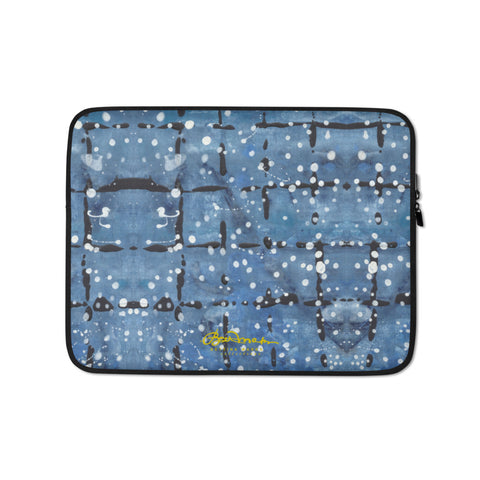 Blu&White Dotted Plaid Laptop Sleeve