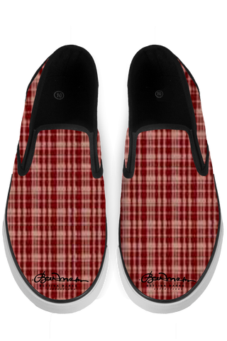 Maroon Black Slip On Sneakers