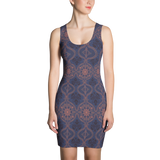 Sargasso Blue and Mellow Rose Damask Fitted Dress